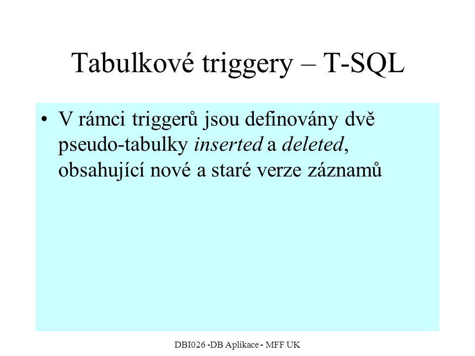 Tabulkové triggery – T-SQL