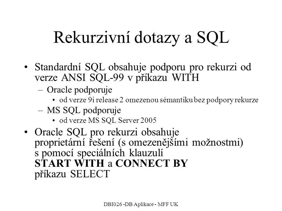 Rekurzivní dotazy a SQL