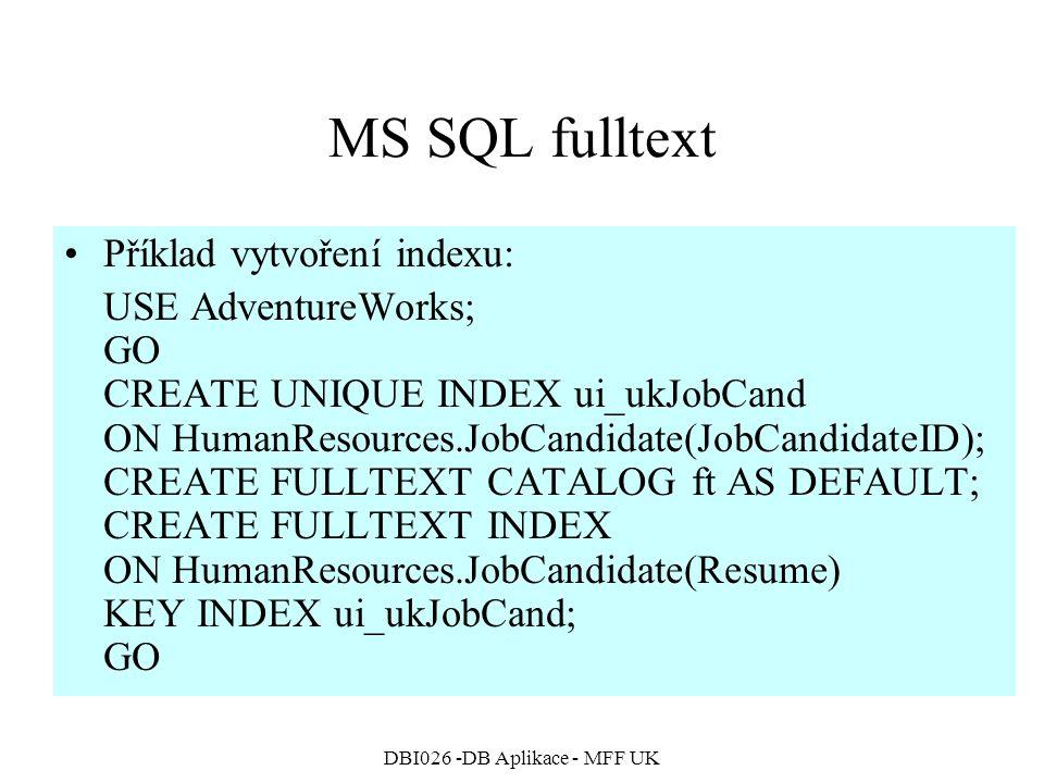 DBI026 -DB Aplikace - MFF UK