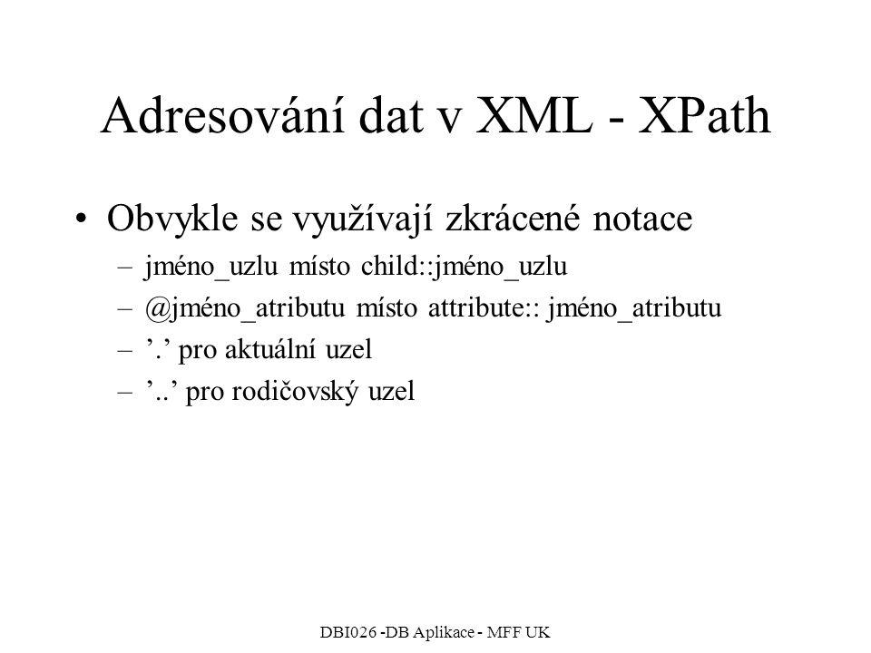 Adresování dat v XML - XPath