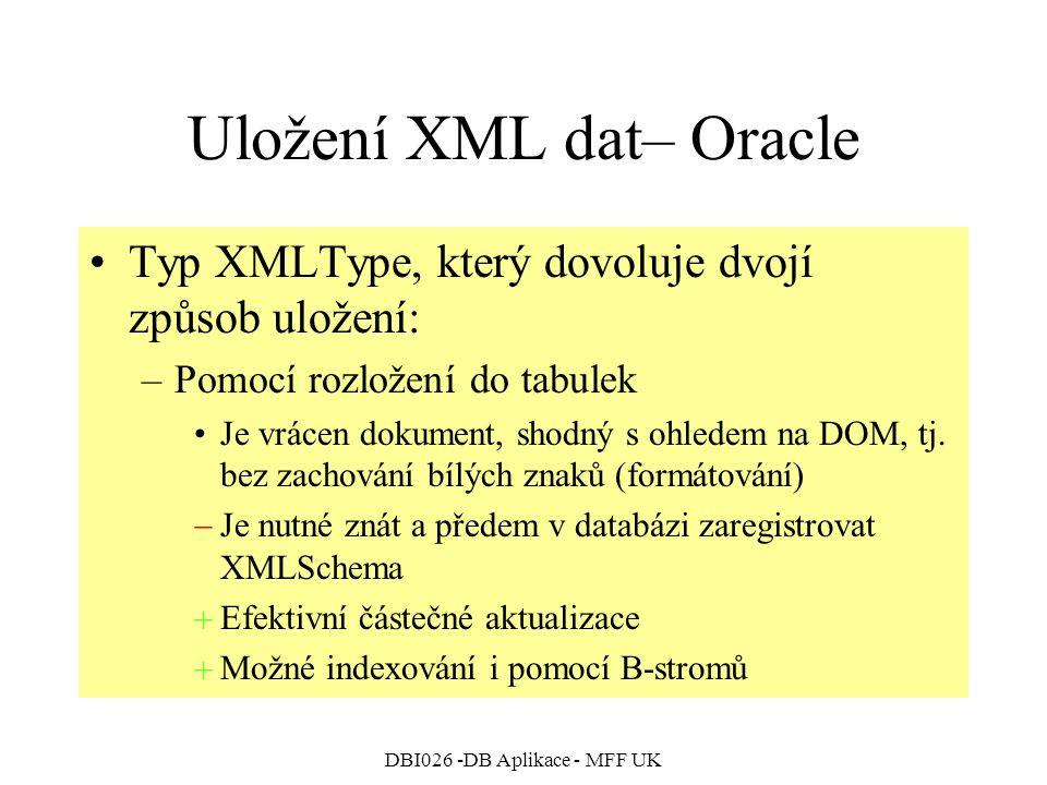 Uložení XML dat– Oracle