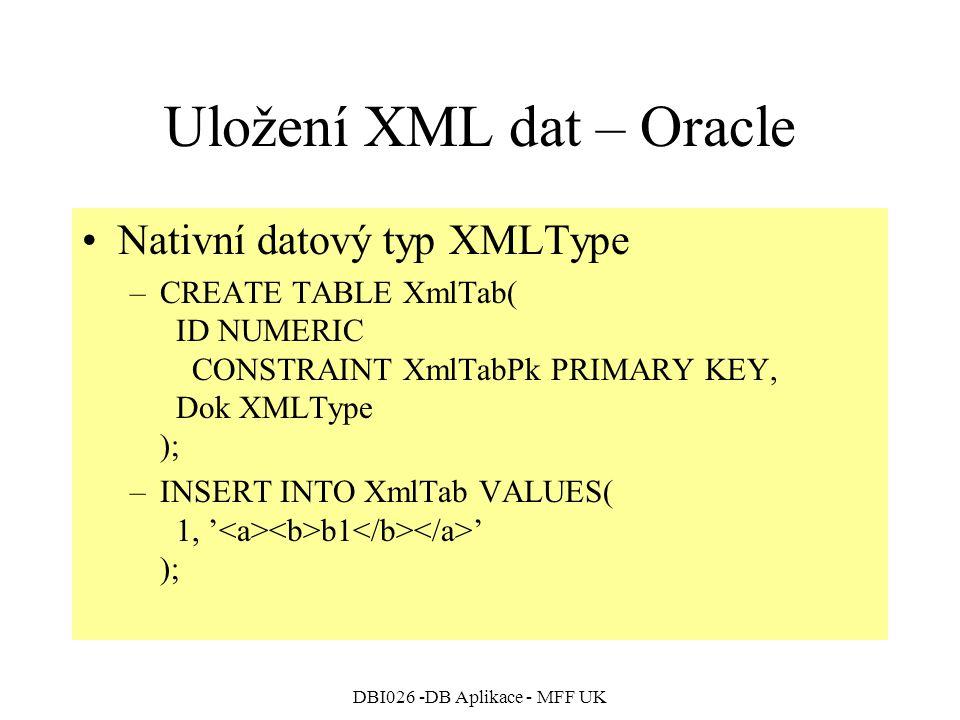 Uložení XML dat – Oracle