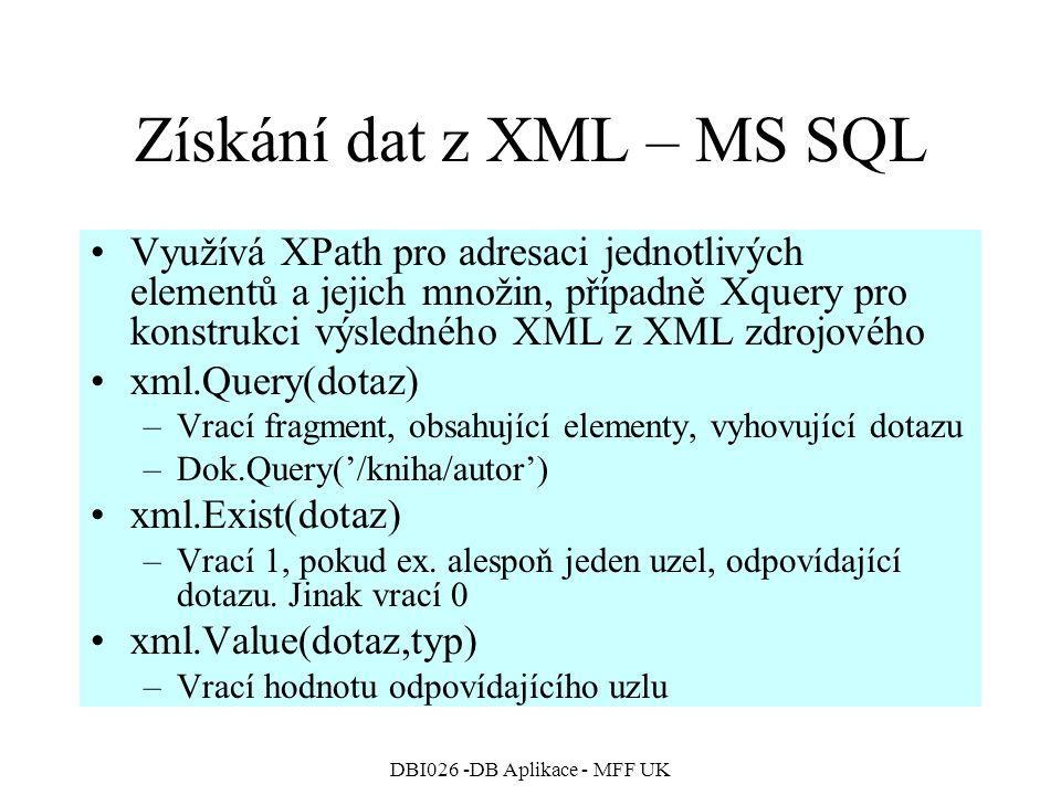 Získání dat z XML – MS SQL