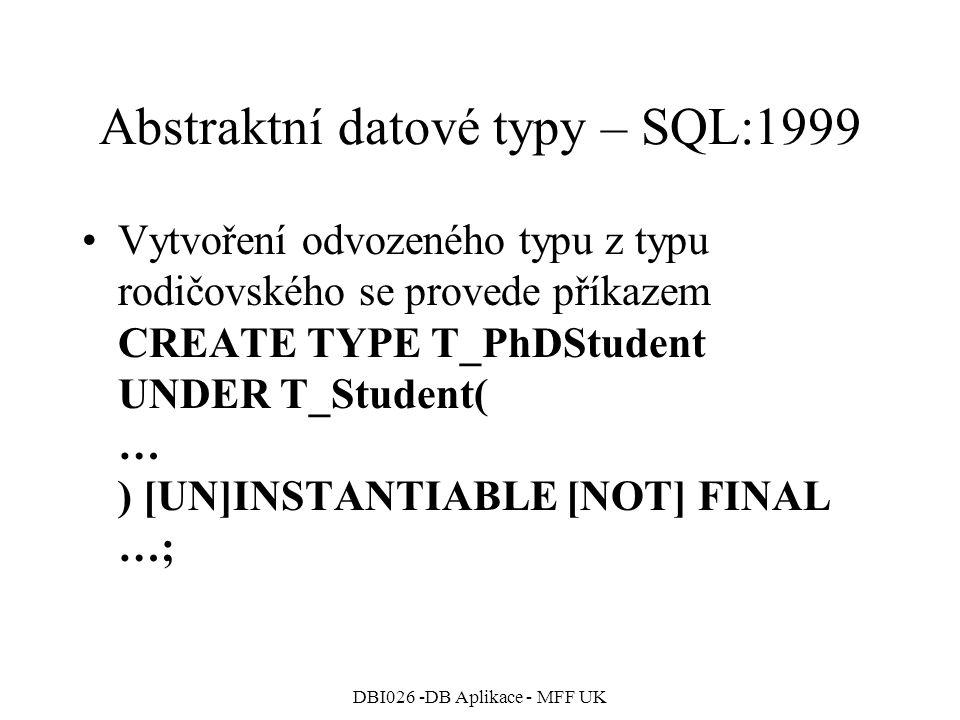 Abstraktní datové typy – SQL:1999