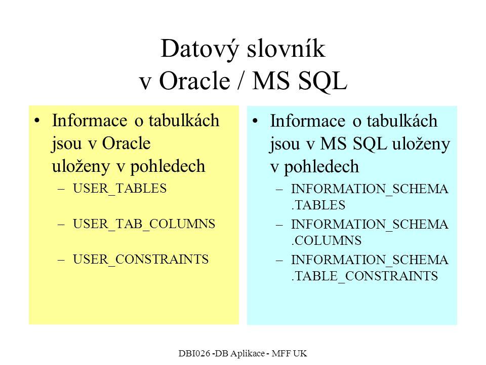 Datový slovník v Oracle / MS SQL
