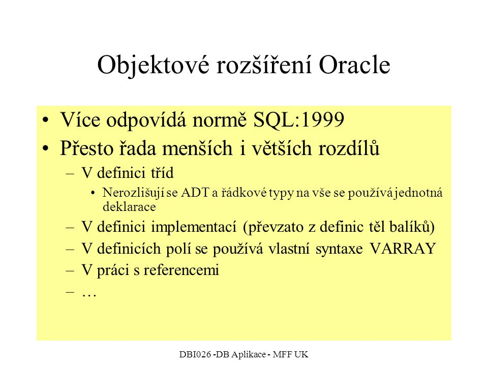 Objektové rozšíření Oracle