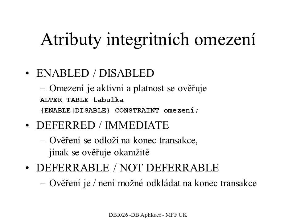 Atributy integritních omezení