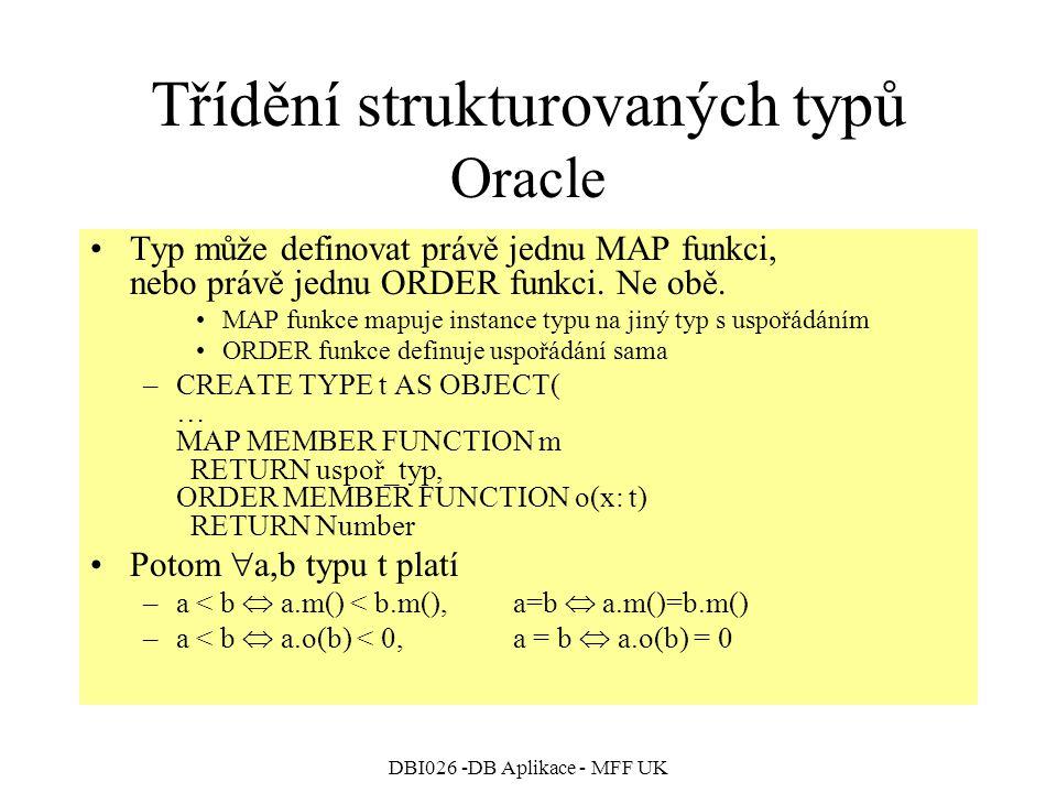 Třídění strukturovaných typů Oracle
