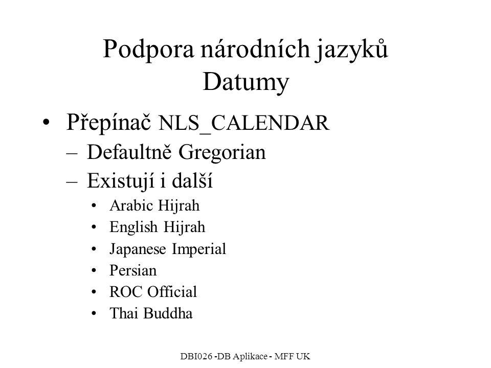 Podpora národních jazyků Datumy