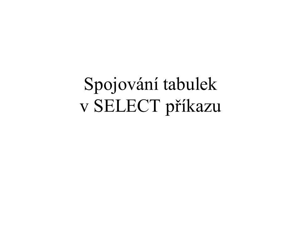 Spojování tabulek v SELECT příkazu