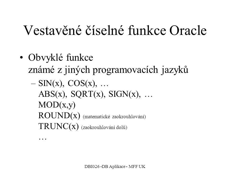 Vestavěné číselné funkce Oracle