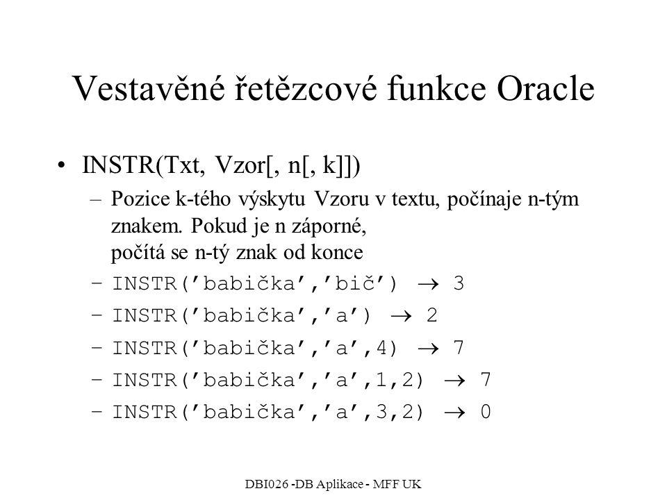 Vestavěné řetězcové funkce Oracle