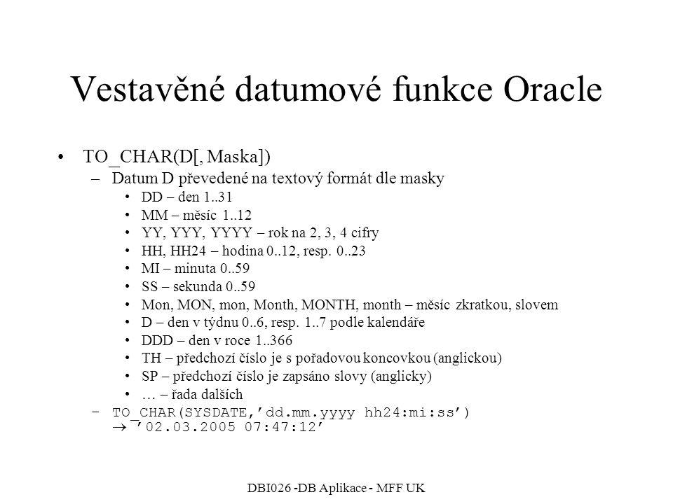 Vestavěné datumové funkce Oracle