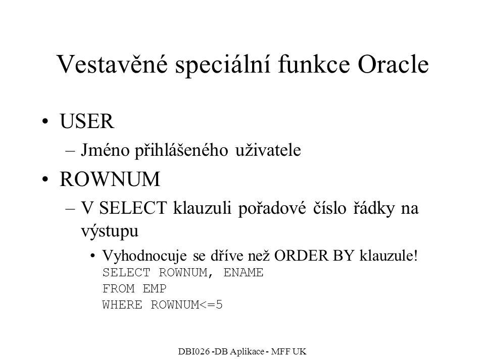 Vestavěné speciální funkce Oracle