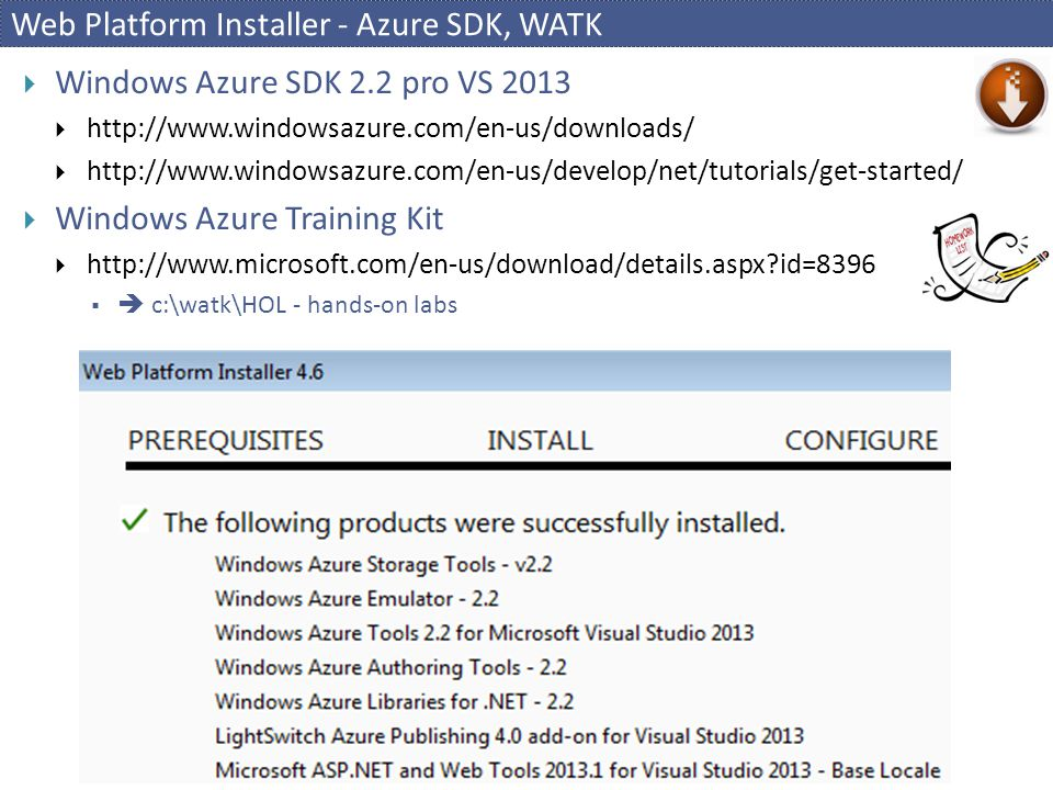 Web Platform Installer - Azure SDK, WATK