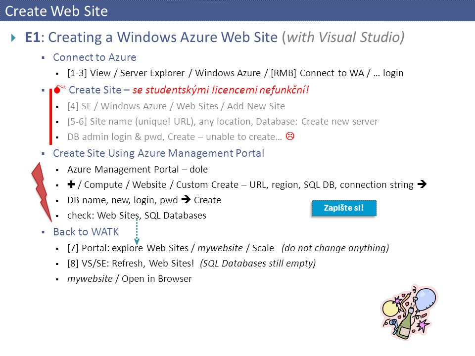 E1: Creating a Windows Azure Web Site (with Visual Studio)