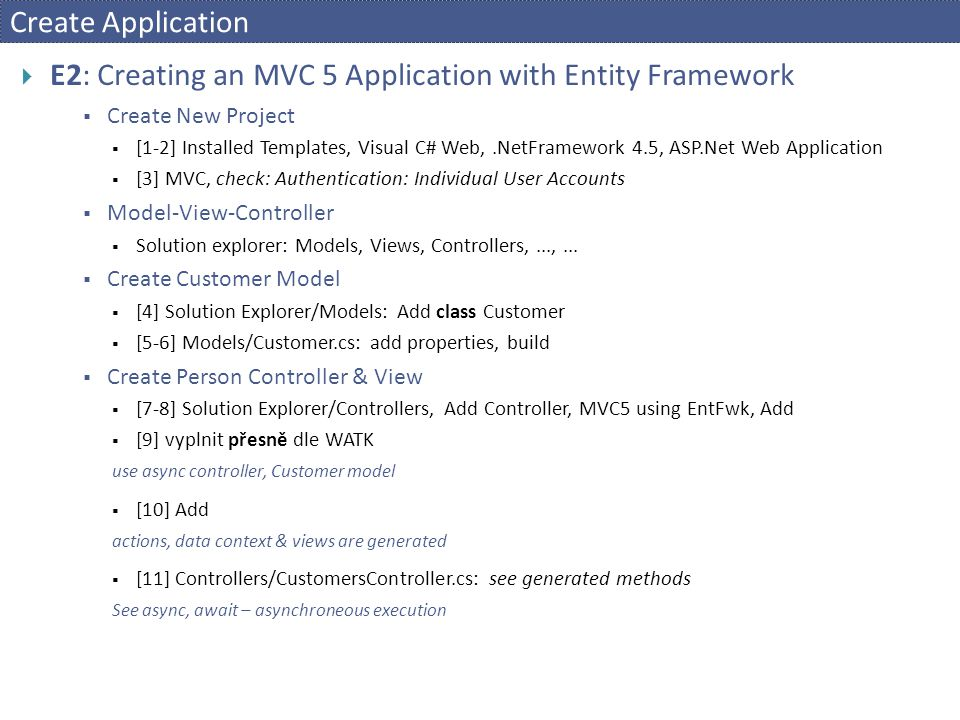 E2: Creating an MVC 5 Application with Entity Framework