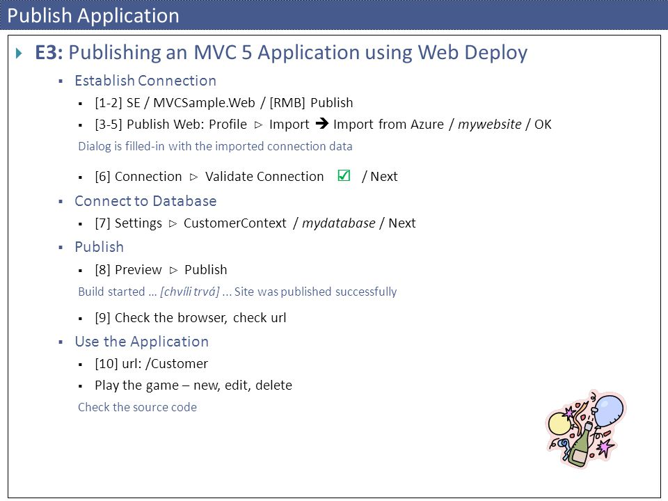 E3: Publishing an MVC 5 Application using Web Deploy