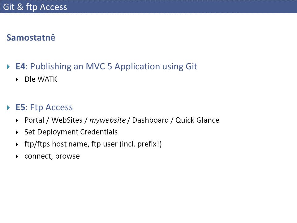 E4: Publishing an MVC 5 Application using Git