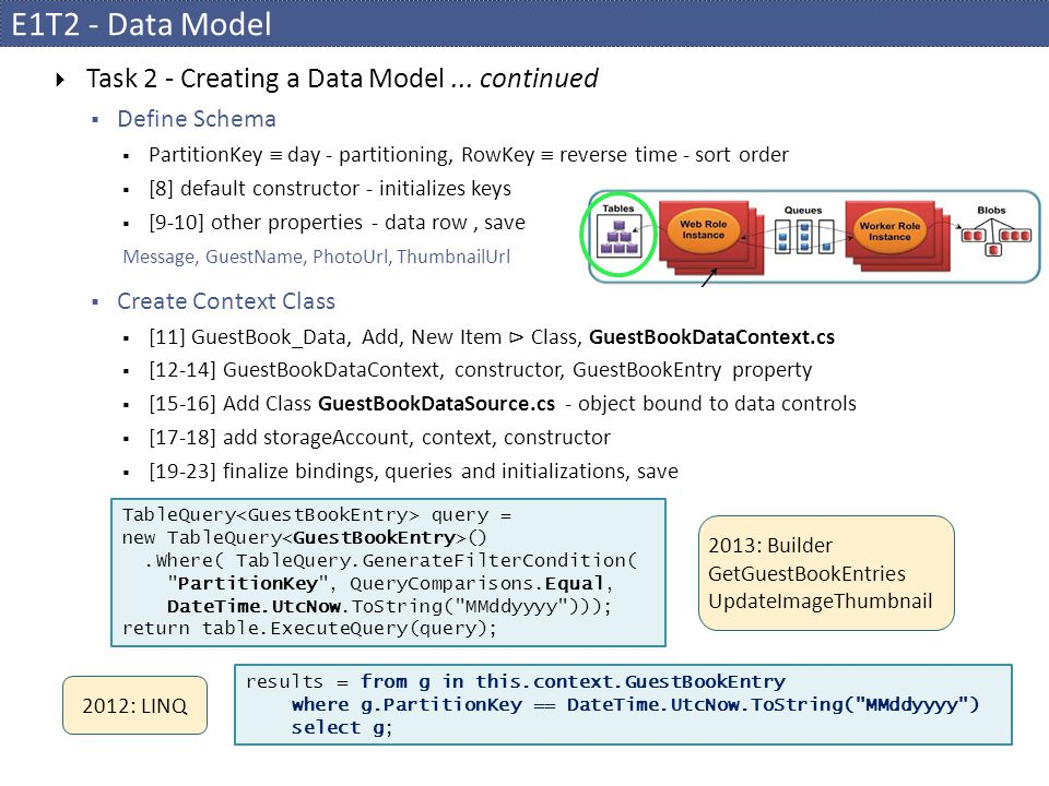 E1T2 - Data Model Task 2 - Creating a Data Model ... continued