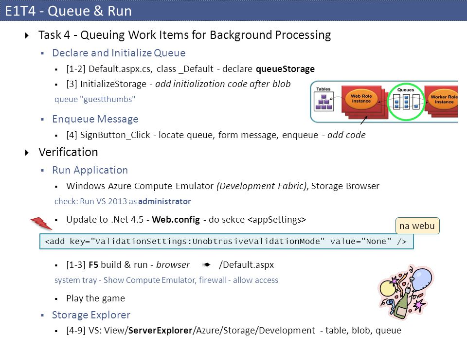 E1T4 - Queue & Run Task 4 - Queuing Work Items for Background Processing. Declare and Initialize Queue.