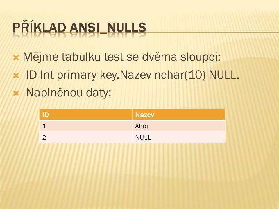 Příklad ANSI_NULLS Mějme tabulku test se dvěma sloupci: