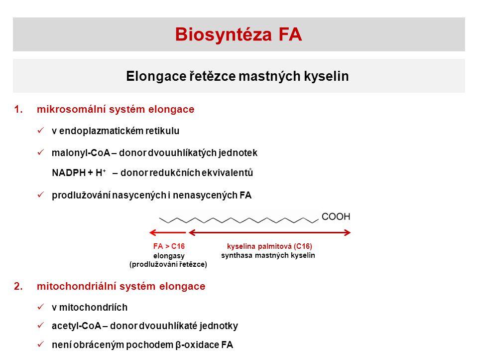 Biosyntéza FA Elongace řetězce mastných kyselin 1.