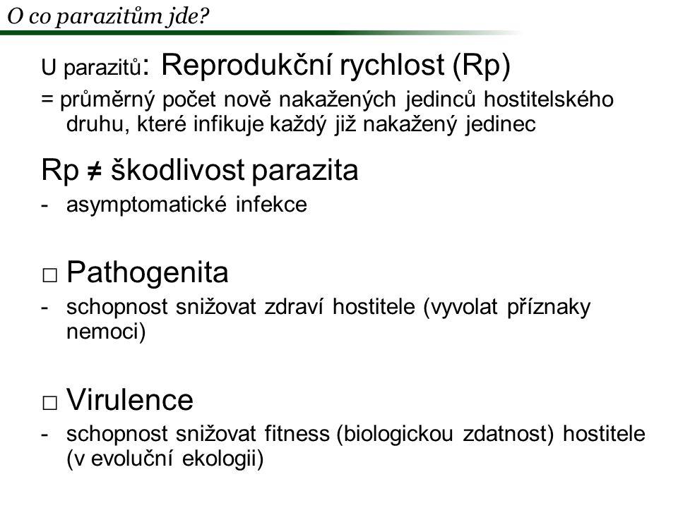 Rp ≠ škodlivost parazita