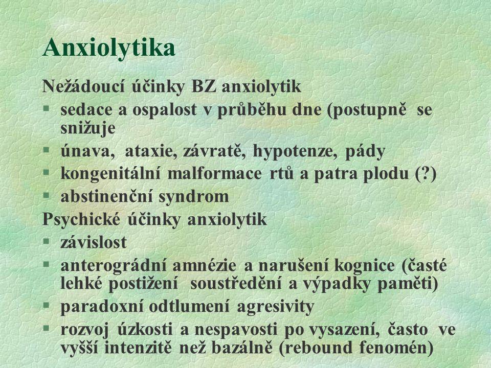 Anxiolytika Nežádoucí účinky BZ anxiolytik