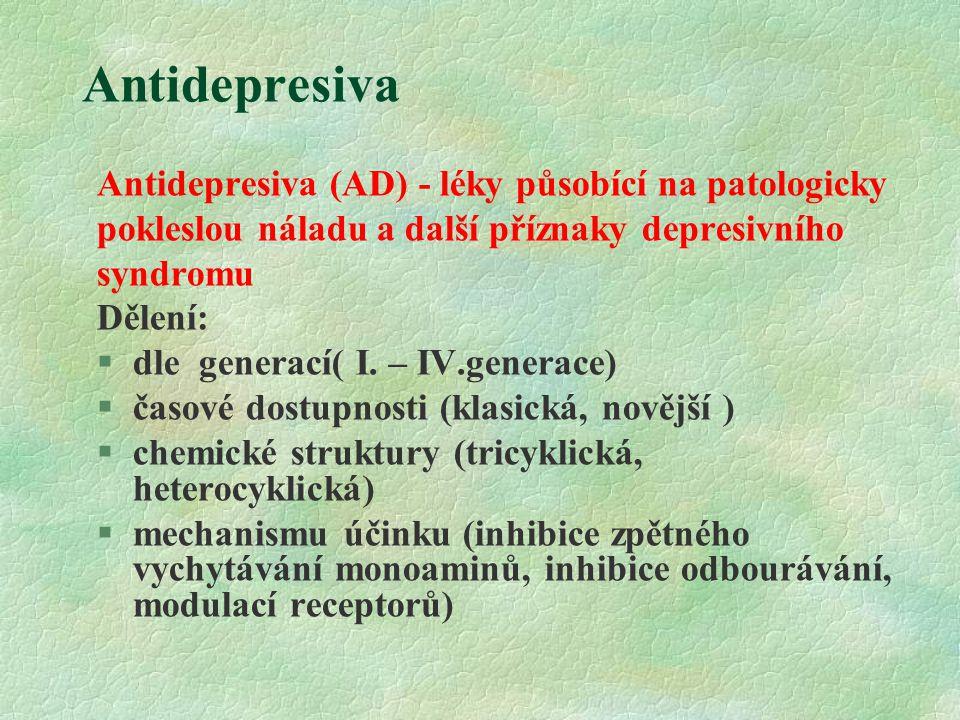 Antidepresiva Antidepresiva (AD) - léky působící na patologicky