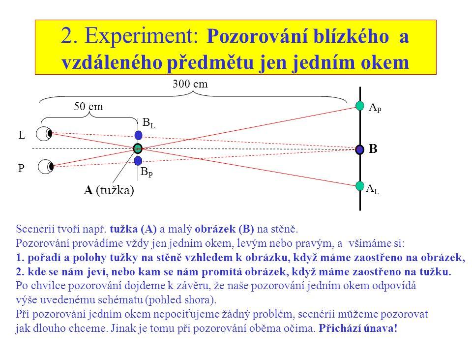 2. Experiment: Pozorování blízkého a vzdáleného předmětu jen jedním okem