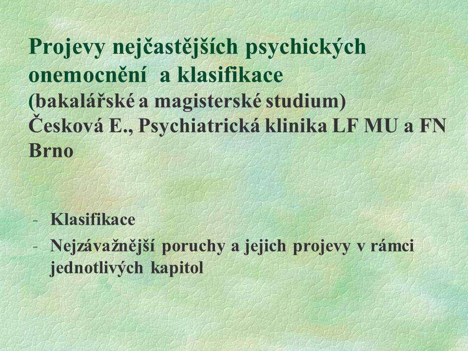 Projevy nejčastějších psychických onemocnění a klasifikace (bakalářské a magisterské studium) Česková E., Psychiatrická klinika LF MU a FN Brno