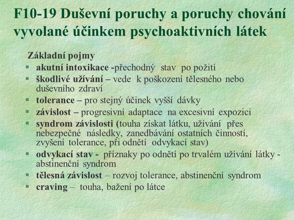 F10-19 Duševní poruchy a poruchy chování vyvolané účinkem psychoaktivních látek