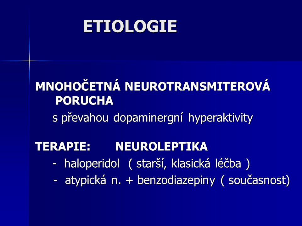 ETIOLOGIE MNOHOČETNÁ NEUROTRANSMITEROVÁ PORUCHA