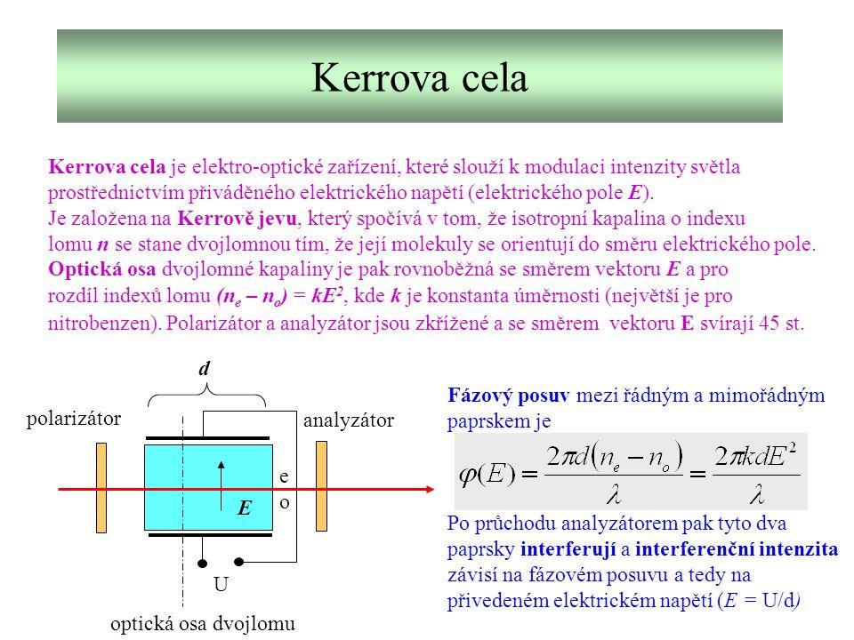 Kerrova cela Kerrova cela je elektro-optické zařízení, které slouží k modulaci intenzity světla.