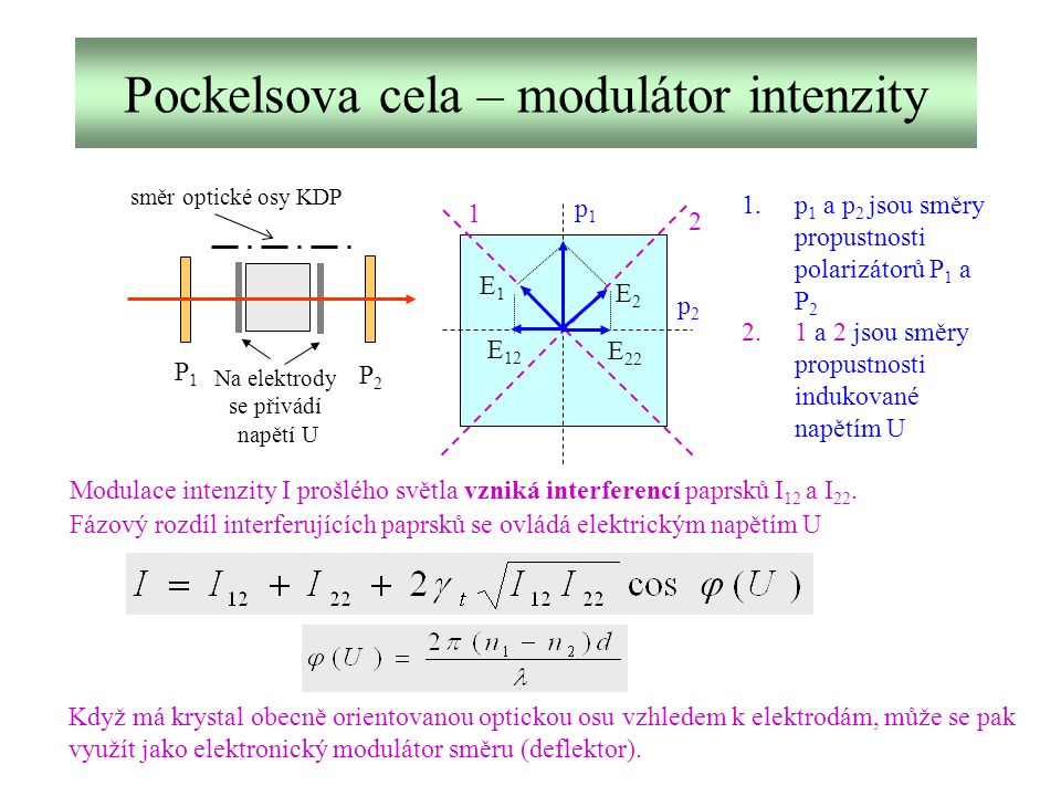 Pockelsova cela – modulátor intenzity
