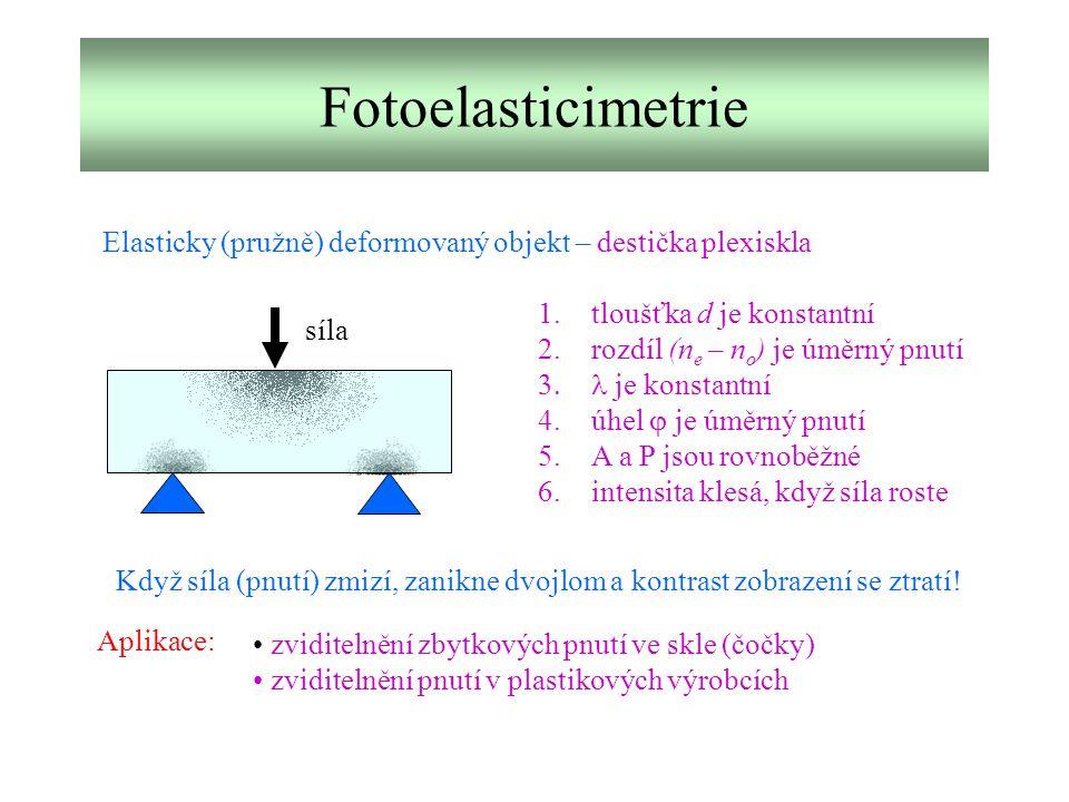Fotoelasticimetrie Elasticky (pružně) deformovaný objekt – destička plexiskla. tloušťka d je konstantní.