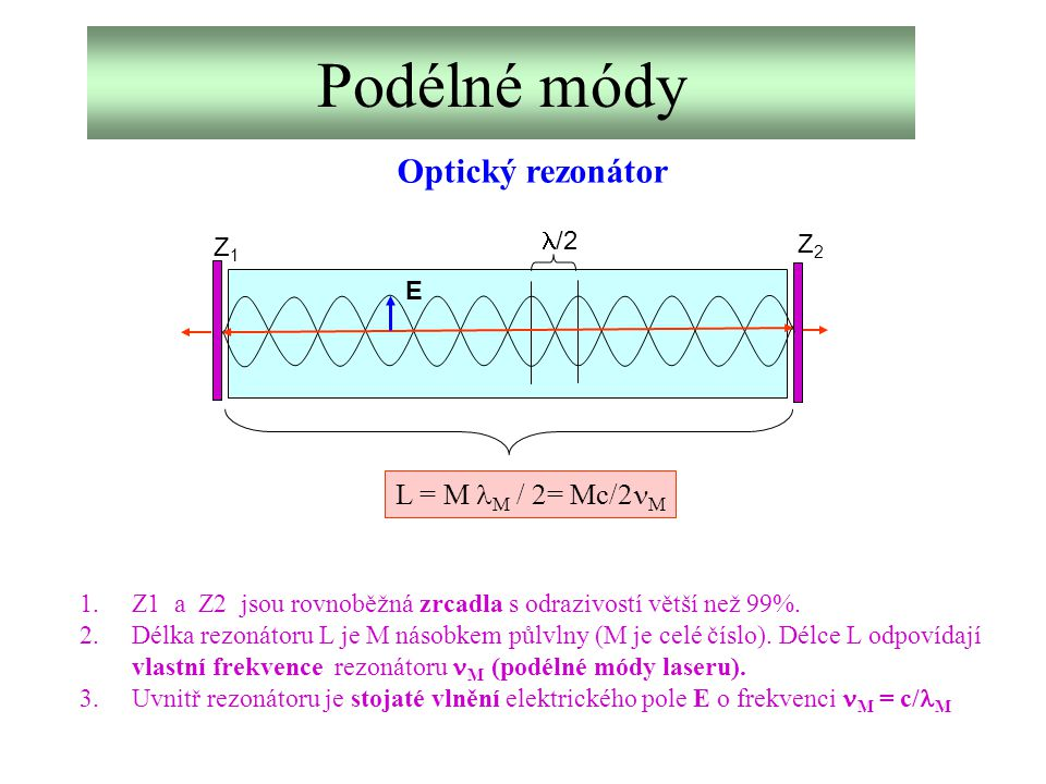 Podélné módy Optický rezonátor L = M lM / 2= Mc/2nM l/2 Z2 Z1 E