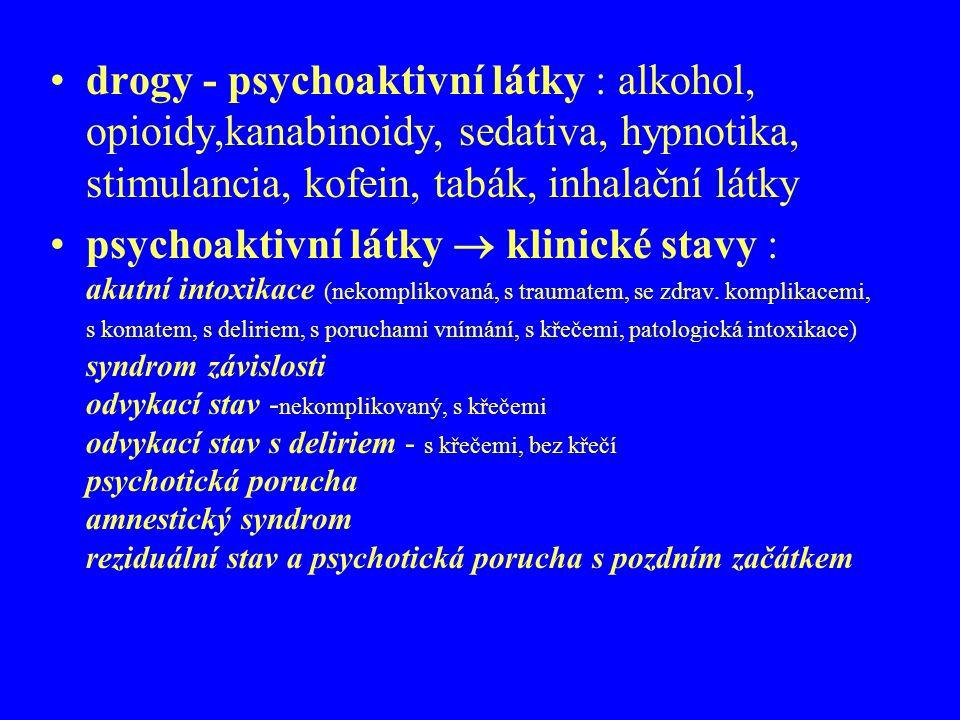 drogy - psychoaktivní látky : alkohol, opioidy,kanabinoidy, sedativa, hypnotika, stimulancia, kofein, tabák, inhalační látky