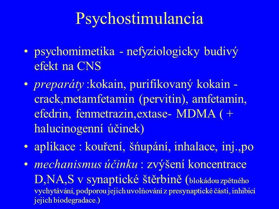Psychostimulancia psychomimetika - nefyziologicky budivý efekt na CNS