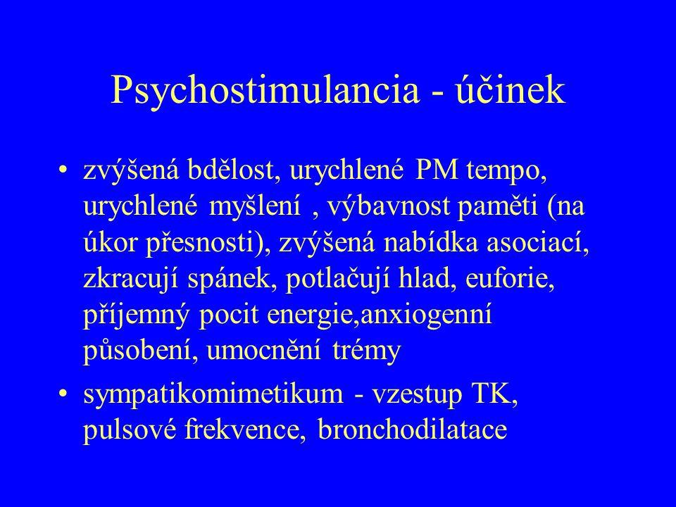 Psychostimulancia - účinek