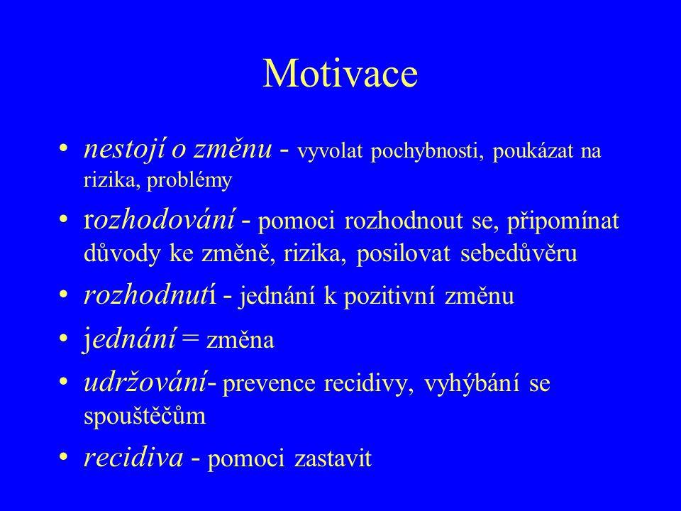 Motivace nestojí o změnu - vyvolat pochybnosti, poukázat na rizika, problémy.
