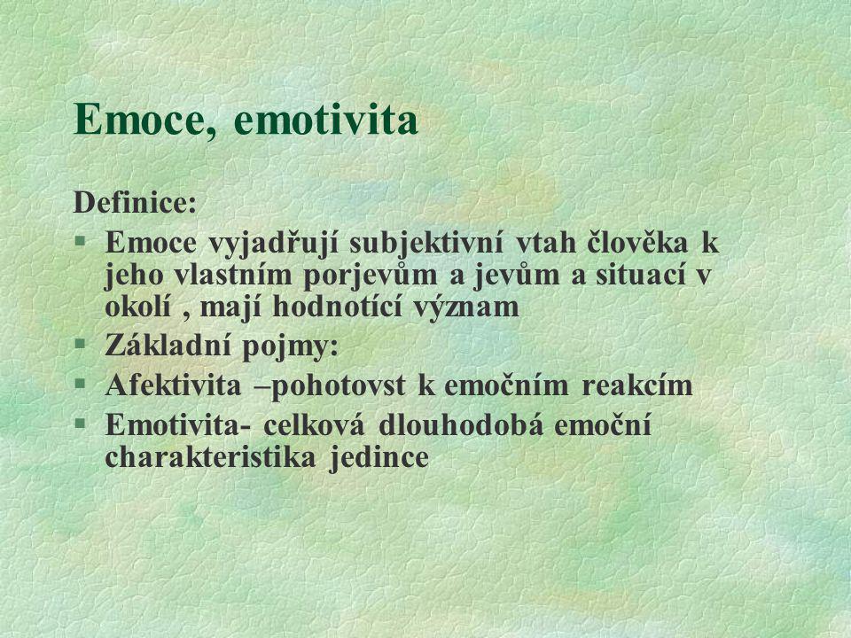Emoce, emotivita Definice: