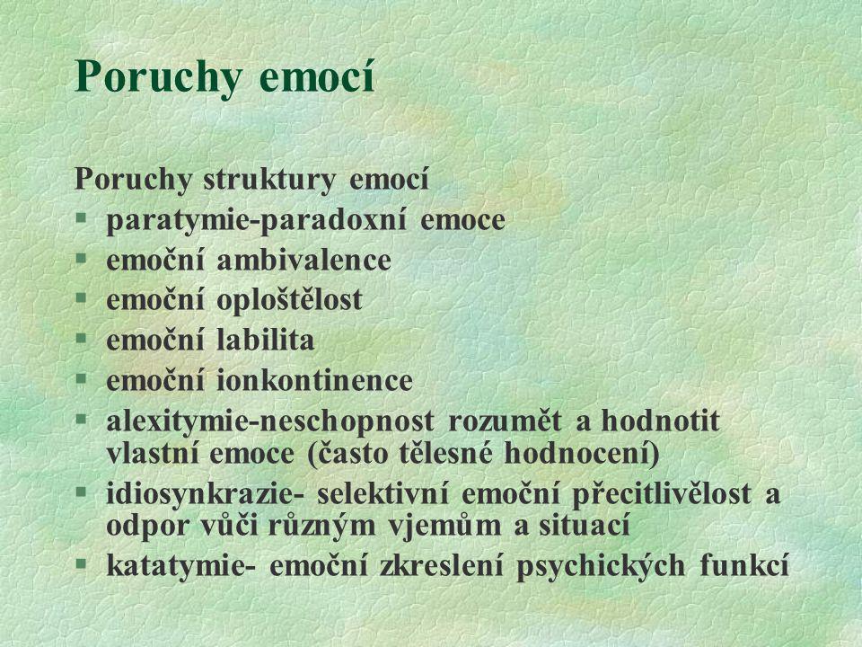 Poruchy emocí Poruchy struktury emocí paratymie-paradoxní emoce