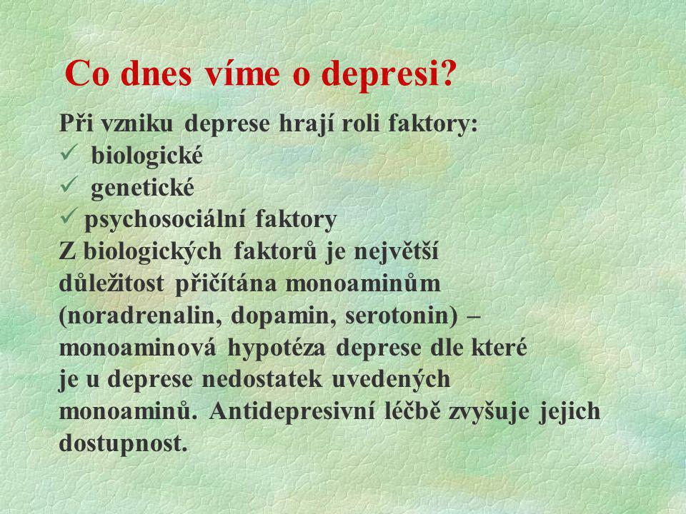 Co dnes víme o depresi Při vzniku deprese hrají roli faktory: