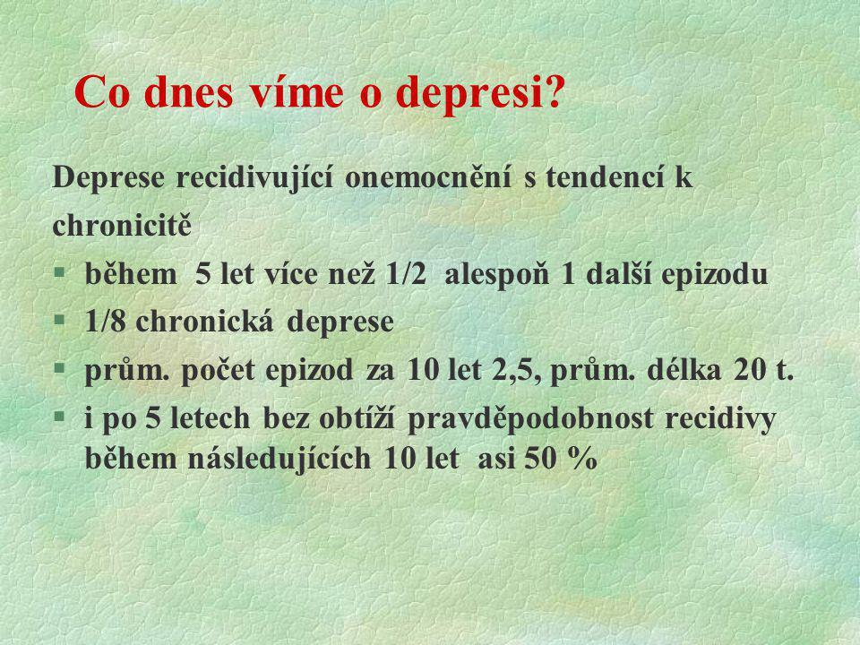 Co dnes víme o depresi Deprese recidivující onemocnění s tendencí k