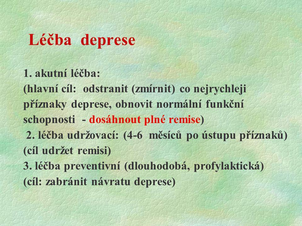 Léčba deprese 1. akutní léčba: