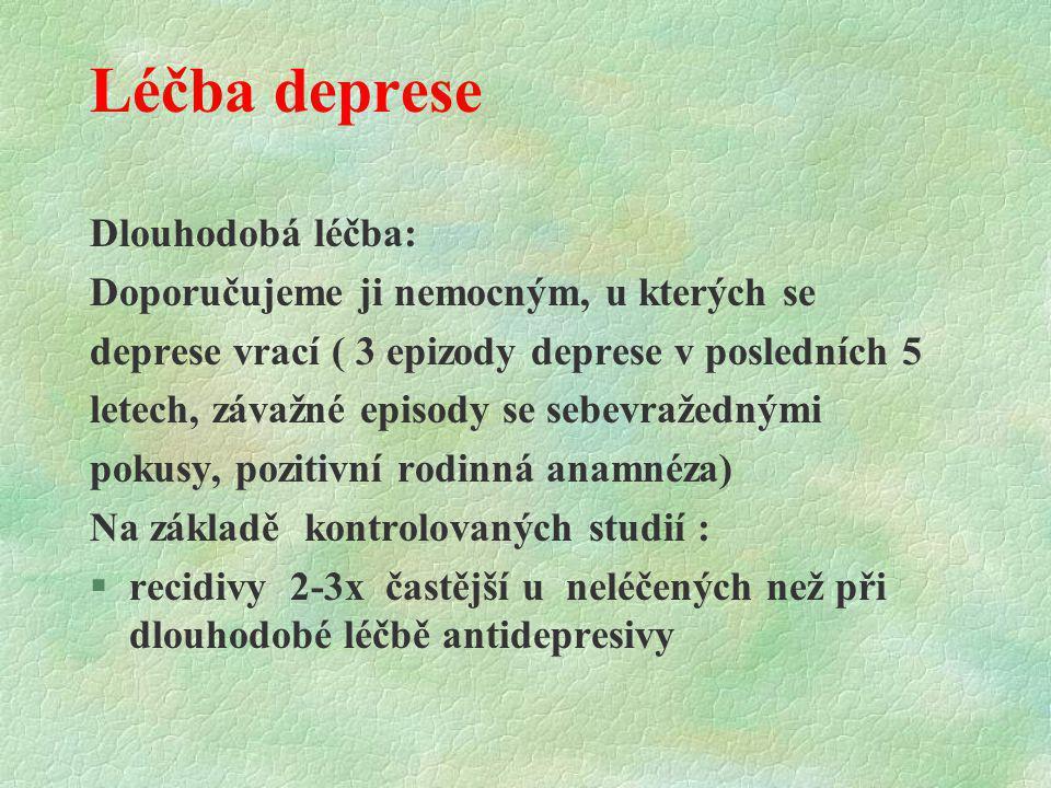 Léčba deprese Dlouhodobá léčba: Doporučujeme ji nemocným, u kterých se