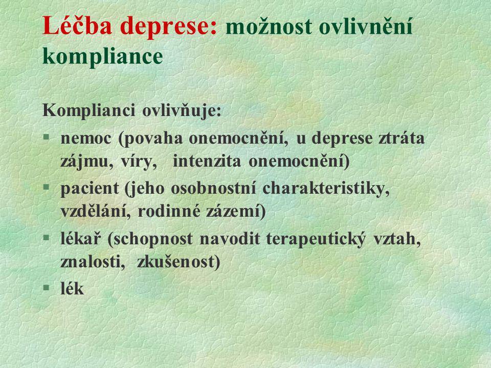 Léčba deprese: možnost ovlivnění kompliance