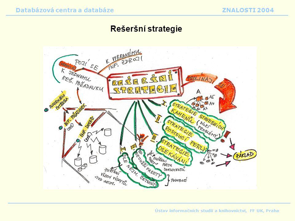 Rešeršní strategie Databázová centra a databáze ZNALOSTI 2004